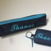 set_keyring_wallet_pencil_case_blue_handmade