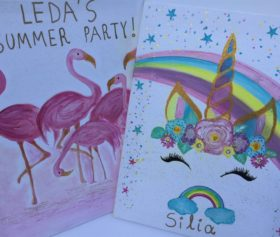 handmade_paintings_unicorn_flamingko_personalized
